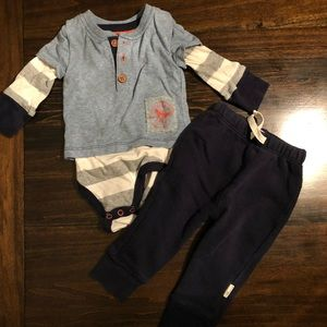 Burt's Bees 2 Piece Boys Outfit, 0-3 mos.